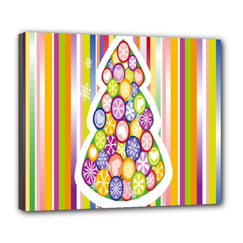 Christmas Tree Colorful Deluxe Canvas 24  x 20
