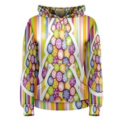 Christmas Tree Colorful Women s Pullover Hoodie