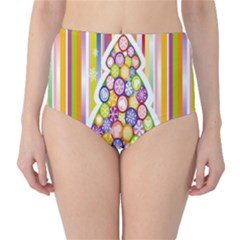 Christmas Tree Colorful High-Waist Bikini Bottoms