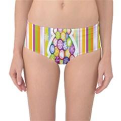 Christmas Tree Colorful Mid-Waist Bikini Bottoms