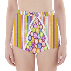 Christmas Tree Colorful High-Waisted Bikini Bottoms