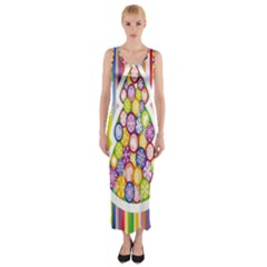 Christmas Tree Colorful Fitted Maxi Dress