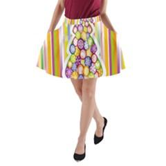 Christmas Tree Colorful A-Line Pocket Skirt