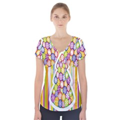 Christmas Tree Colorful Short Sleeve Front Detail Top