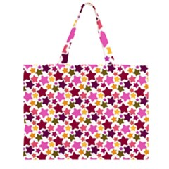 Christmas Star Pattern Zipper Large Tote Bag