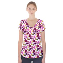 Christmas Star Pattern Short Sleeve Front Detail Top