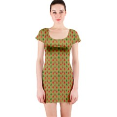 Christmas Trees Pattern Short Sleeve Bodycon Dress