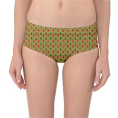 Christmas Trees Pattern Mid-Waist Bikini Bottoms