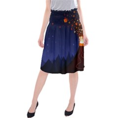 Christmas Volcano Midi Beach Skirt
