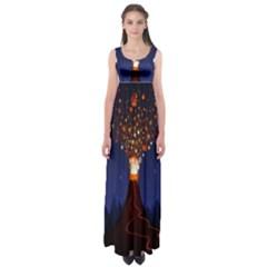 Christmas Volcano Empire Waist Maxi Dress