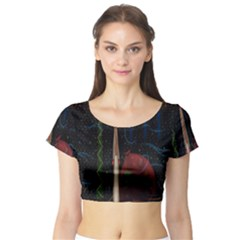 Christmas Xmas Bag Pattern Short Sleeve Crop Top (Tight Fit)