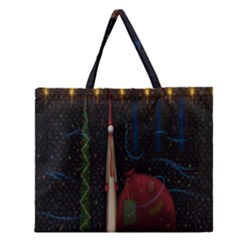 Christmas Xmas Bag Pattern Zipper Large Tote Bag