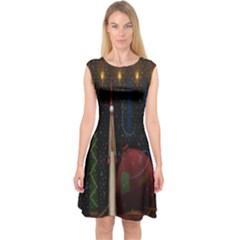 Christmas Xmas Bag Pattern Capsleeve Midi Dress