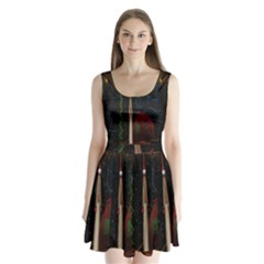 Christmas Xmas Bag Pattern Split Back Mini Dress