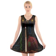 Christmas Xmas Bag Pattern V Neck Sleeveless Skater Dress