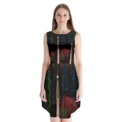 Christmas Xmas Bag Pattern Sleeveless Chiffon Dress