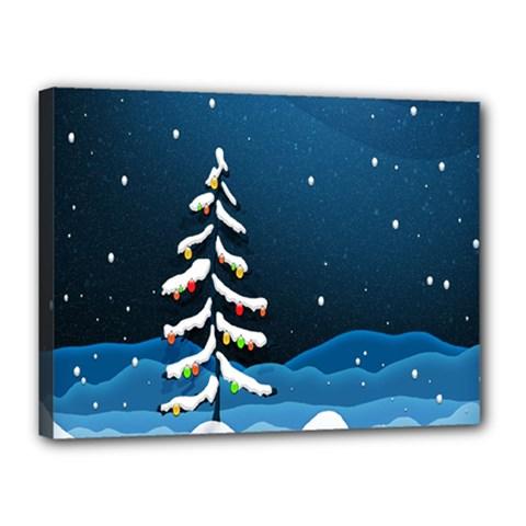 Christmas Xmas Fall Tree Canvas 16  x 12