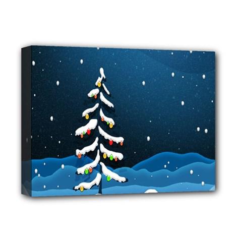 Christmas Xmas Fall Tree Deluxe Canvas 16  x 12