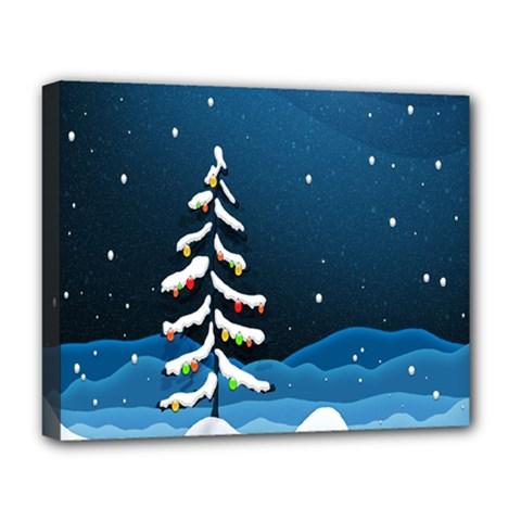 Christmas Xmas Fall Tree Deluxe Canvas 20  X 16