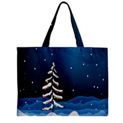 Christmas Xmas Fall Tree Zipper Mini Tote Bag