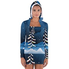 Christmas Xmas Fall Tree Women s Long Sleeve Hooded T Shirt