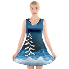 Christmas Xmas Fall Tree V Neck Sleeveless Skater Dress