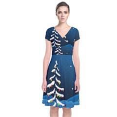 Christmas Xmas Fall Tree Short Sleeve Front Wrap Dress