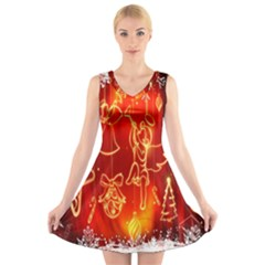Christmas Widescreen Decoration V Neck Sleeveless Skater Dress