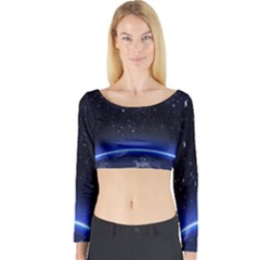 Christmas Xmas Night Pattern Long Sleeve Crop Top