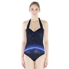 Christmas Xmas Night Pattern Halter Swimsuit