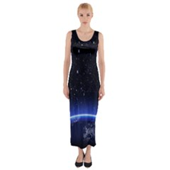 Christmas Xmas Night Pattern Fitted Maxi Dress