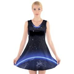 Christmas Xmas Night Pattern V Neck Sleeveless Skater Dress