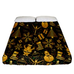Christmas Background Fitted Sheet (queen Size)