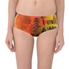 Christmas Bauble Mid Waist Bikini Bottoms