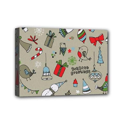 Christmas Xmas Pattern Mini Canvas 7  x 5
