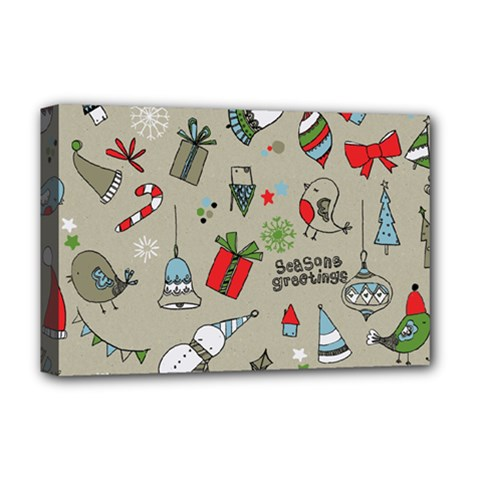 Christmas Xmas Pattern Deluxe Canvas 18  x 12