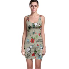 Christmas Xmas Pattern Sleeveless Bodycon Dress