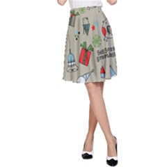 Christmas Xmas Pattern A Line Skirt