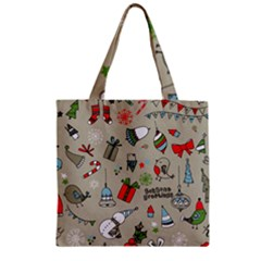 Christmas Xmas Pattern Zipper Grocery Tote Bag
