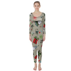 Christmas Xmas Pattern Long Sleeve Catsuit