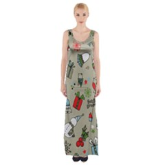 Christmas Xmas Pattern Maxi Thigh Split Dress