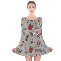 Christmas Xmas Pattern Long Sleeve Velvet Skater Dress