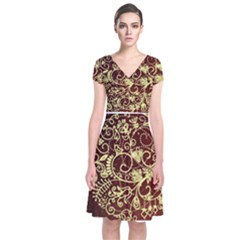 Christmas Bauble Short Sleeve Front Wrap Dress