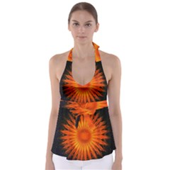 Christmas Card Ball Babydoll Tankini Top