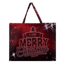 Christmas Contemplative Zipper Large Tote Bag