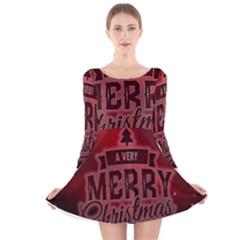 Christmas Contemplative Long Sleeve Velvet Skater Dress