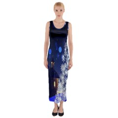 Christmas Card Christmas Atmosphere Fitted Maxi Dress