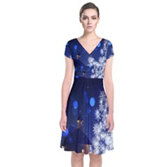 Christmas Card Christmas Atmosphere Short Sleeve Front Wrap Dress