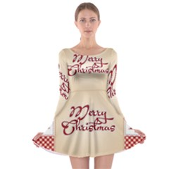 Christmas Xmas Patterns Pattern Long Sleeve Skater Dress