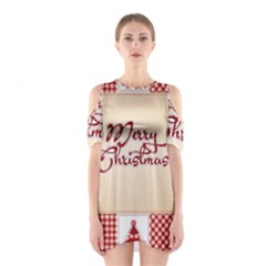 Christmas xmas Patterns Pattern Shoulder Cutout One Piece